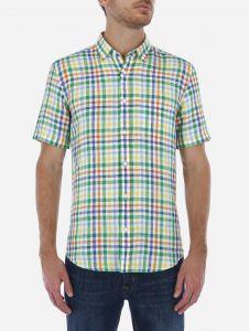 Camisa Lino Verde a Cuadros