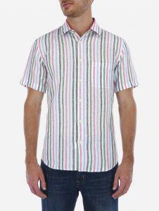 Camisa Lino Manga Corta a Rayas