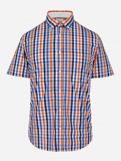 Camisa Casual de Cuadros Naranja