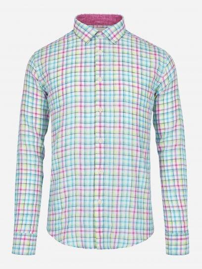 Camisa Lino Turquesa a Cuadros