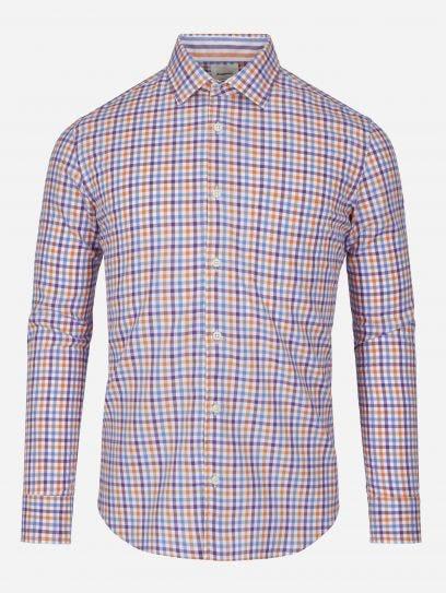 Camisa Casual a Cuadros Naranja