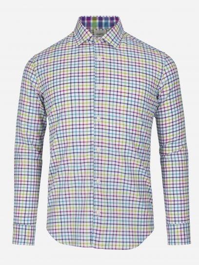 Camisa Casual de Ventanas Multicolor
