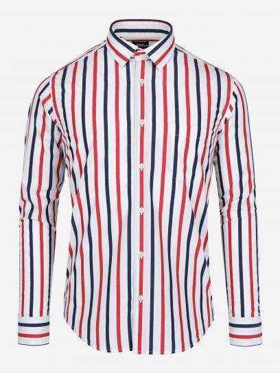 Camisa Casual de Rayas Bicolor