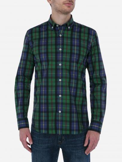 Camisa Casual Tartan Verde y Azul