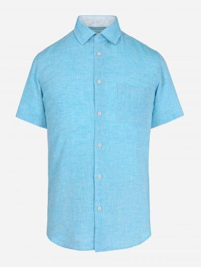 Camisa de Lino de Manga Corta