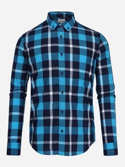 Camisa Casual de Multicuadros Turquesa