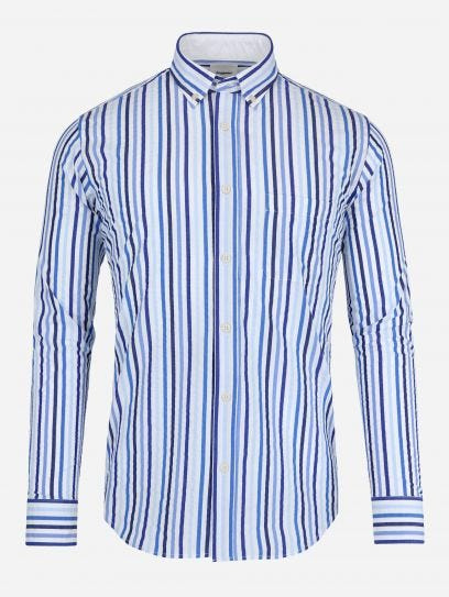 Camisa Seersucker de Rayas Monocromaticas