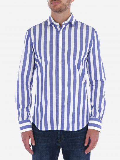 Camisa Casual de Rayas Slub
