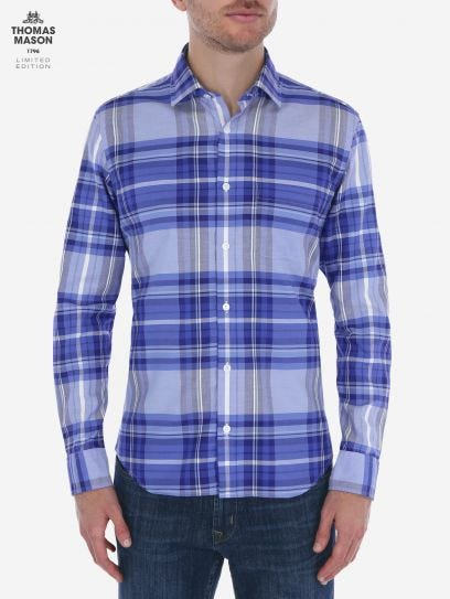 Camisa de Cuadros Madras Azul Thomas Mason by Scappino