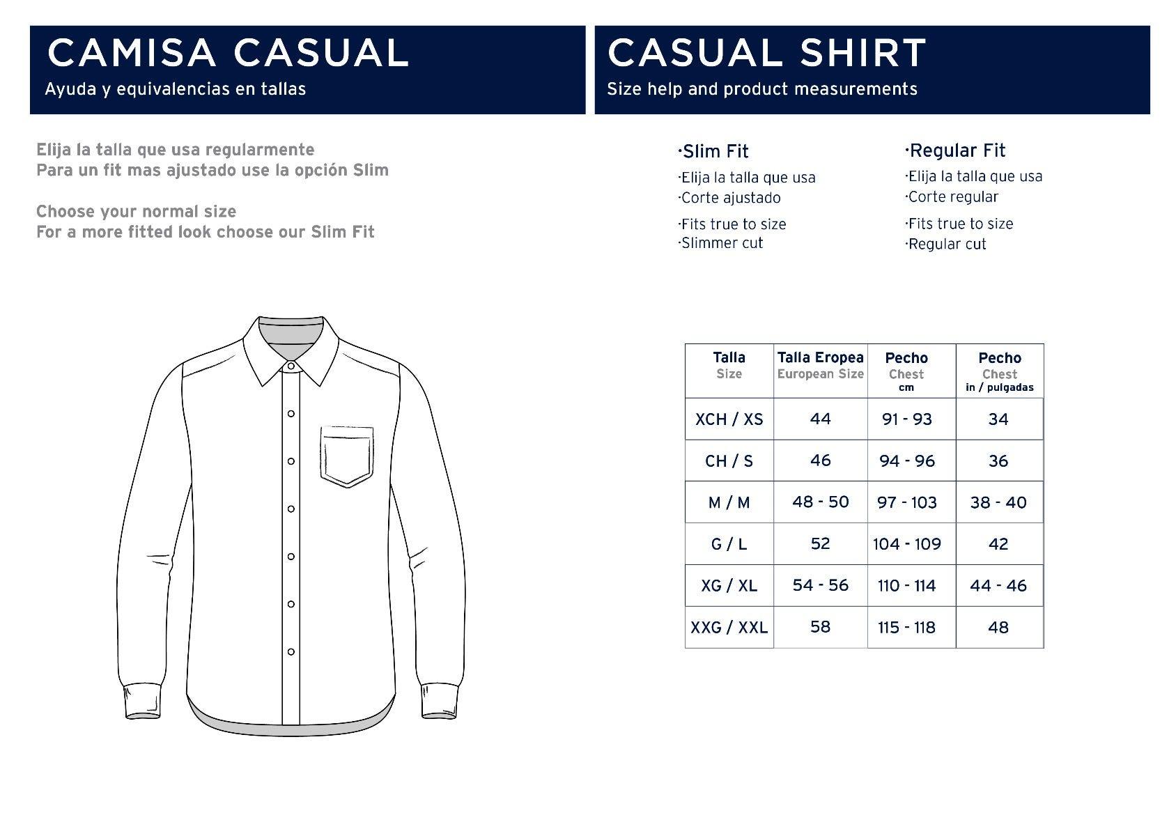 Camisa Casual con tabla de medidas